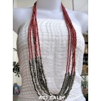 long strand multiple beads necklace with steel red
