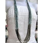 long strand multiple beads necklace steel turquoise