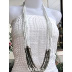 long strand multiple beads necklace with steel white