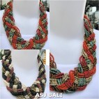 multiple seeds wrapt beads necklaces chokers 2color