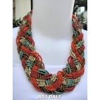 multiple seeds wrapt beads red necklaces chokers handmade