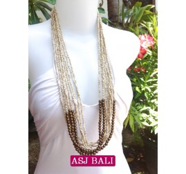 multiple strand long seed bead necklace beige