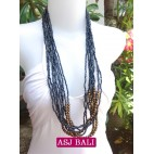 multiple strand long seed bead necklace black