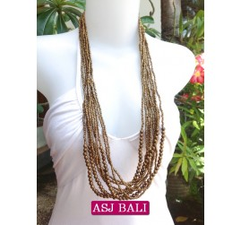 multiple strand long seed bead necklace golden color