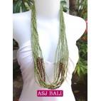 multiple strand long seed bead necklace green color