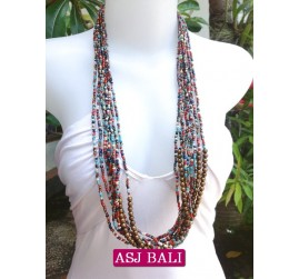 multiple strand long seed bead necklace mix color