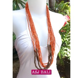 multiple strand long seed bead necklace orange