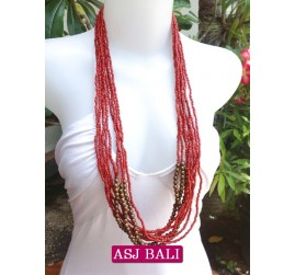 multiple strand long seed bead necklace red color