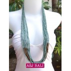 multiple strand long seed bead necklace turquoise