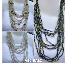 3color strand necklaces solid color with stone