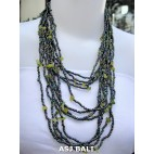 multiple strand necklaces solid color with stone abalone