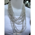 multiple strand necklaces solid color silver with stone