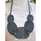 necklace beads mets plates handmade grey color