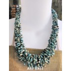 necklaces chokers multi wrapted beads mix blue