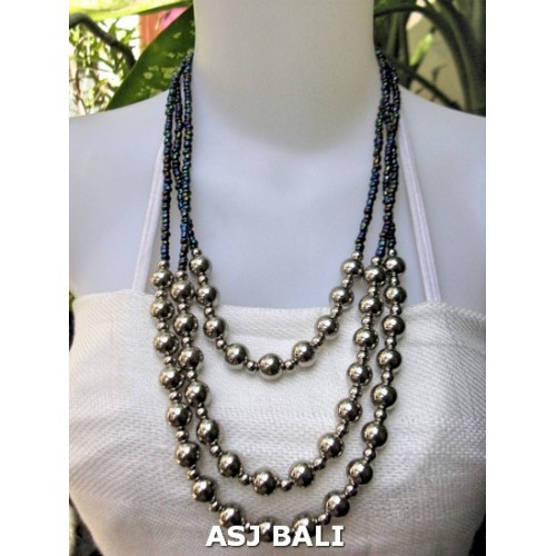 triangle seeds beads necklaces with steel ball abalone