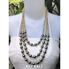 triangle seeds beads necklaces with steel ball beige