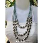 triangle seeds beads necklaces with steel ball blue