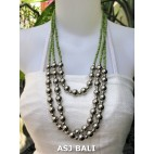 triangle seeds beads necklaces with steel ball green