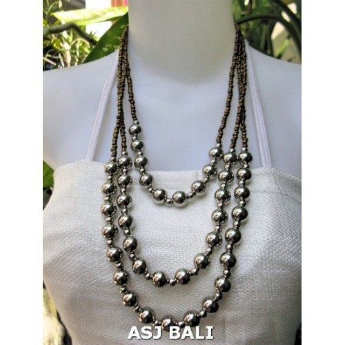 tiangle seeds beads necklaces with steel ball gold