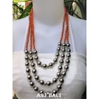 triangle seeds beads necklaces with steel ball orange