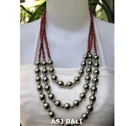 triangle seeds beads necklaces with steel ball red