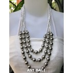triangle seeds beads necklaces with steel ball white