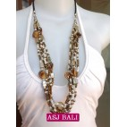 two color beads necklace shells bali design