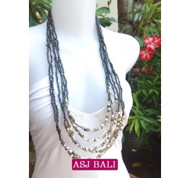 women beads necklace abalone color with bead charms
