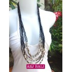 beads necklace black color multi strand bead charms