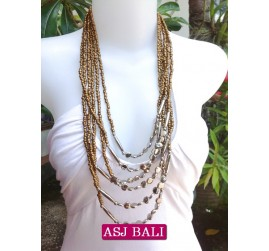 women beads necklace gold color multi strand charms