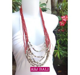 women necklace multi strand with bead charms red