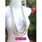 beads necklace multi strand with bead charms white