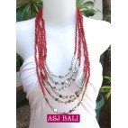 beads necklace red color multi strand with bead charms