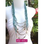 women necklace turquoise multi strand with bead charms