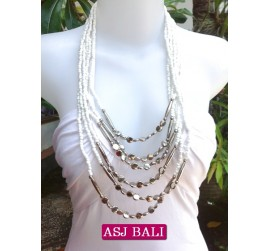 women necklace white multi strand with bead charms