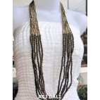 wooden beads long strand necklaces handmade gold