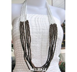 wooden beads long strand necklaces handmade white