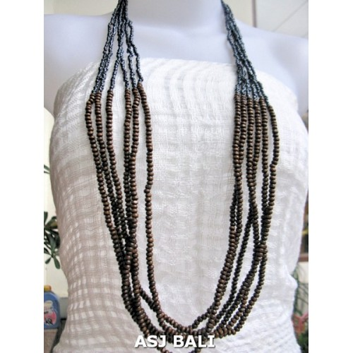 wooden beads long strand necklaces handmade grey