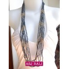 bali necklace bead grey with steel combinations