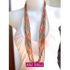 bali necklace bead orange with steel combinations