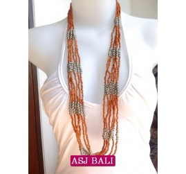 bali necklace bead orange with steel combinations