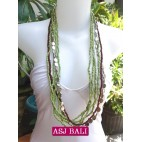 bali necklace long strand green beads with charms