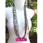bali necklace long strand silver beads with charms