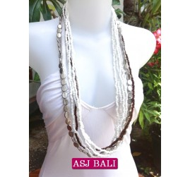 bali necklace long strand white beads with charms