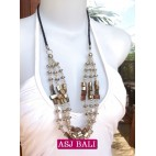 balinese 3strand beads shells necklace natural