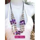 balinese 3strand beads shells charm necklace purple