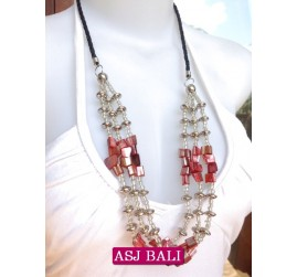 3strand beads shells charm necklace red designs