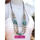 balinese 3strand beads shells necklace turquoise