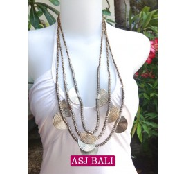 charming beads necklaces triangle seeds gold color