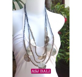 charming beads necklaces triangle seeds grey color